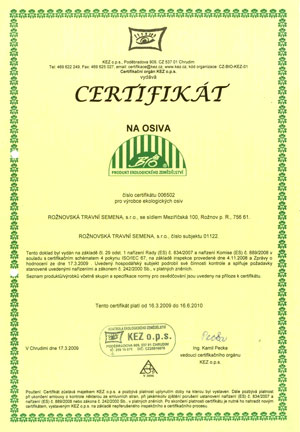 Certifikát výroby BIO osiv